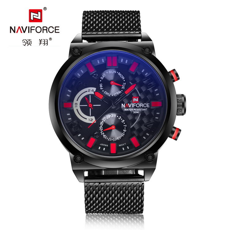 Trendy design chronograph Naviforce brand Quartz watch for men