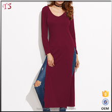 Wholesale custom burgundy slit side blank extra long t-shirt women with custom logo