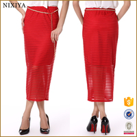 Striped Red Navy Style Stunning Chic Loose Full Long Skirt