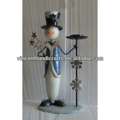 Christmas decor free standing metal snowman candle holder for pillar or tealight candle