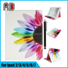 Factory Wholesale Perspective Flowers Painting PU Leather Flip Stand Cover Case for Ipad 7/for Ipad Air 3 protective shell