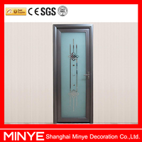 unclear glass stainless steel profile bathroom swing door