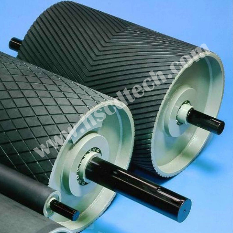 Small friction & flexural conveyor belt snub pulleys