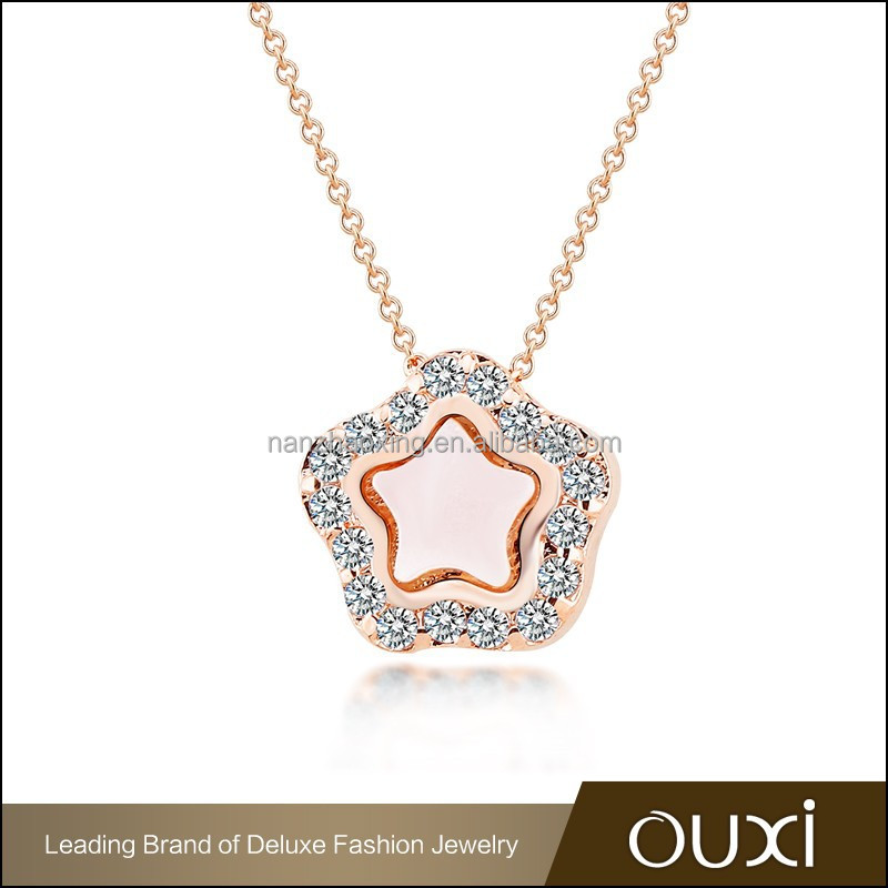 Fashion new design crystal jewelry gold plated aaa zircon star champagne crystal woman necklace jewelry