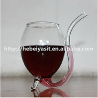 Wholesale 300ML Yasit red wine/coffee glass cup with drinking tube straw