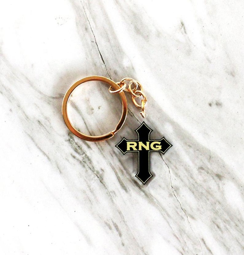 RNG Cross 1.5 Inches Acrylic Double Sided Keychain For Backpacks / Purses / Luggage / Bags / <strong>Keys</strong>