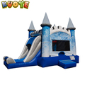 2017 inflatable Ninjajump bouncer with cartoon banners and basektball hoop