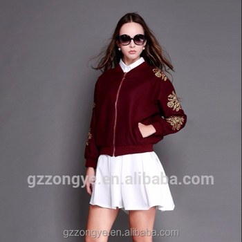 2017 Latest Spring Embroidery Woolen Short Coat Fashion Street Van Baseball uniform Chic Jacket Garment Factory