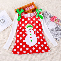 Christmas New Arrival Children Girls Long Sleeve Snowman Red Dot Printed T shirts