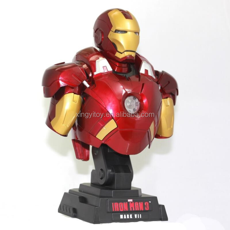 Marvel Super hero Figure IronMan 3 MK 7 1/4 scale bust with LED toy action figure