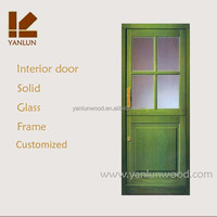 simple design green color interior office wood glass balcony door