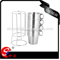 Hot sales Stainless Steel Mug coffee cup water cup set with rack