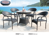 cheap stylish outdoor wicker rattan dining set patio table and chairs Chinese furniture factory in Guangzhou