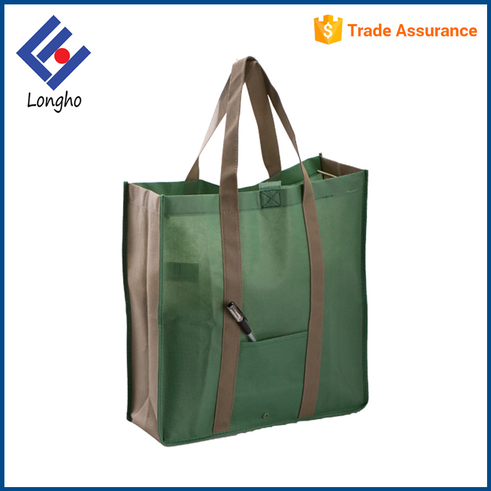 Reinforced sewn ecological supermarket bag stitched handle laminated pp non-woven shopping bag