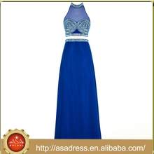 ASPY01 Two Pieces Royal Blue Crystal Sexy Indian Cheap Prom Dresses