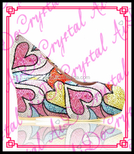 Aidocrystal colorful heart pattern Crystal Elegant Wedge Heel Shoes