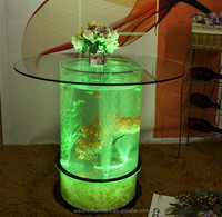 led aquarium table with top glass led water fall table