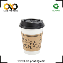 Custom logo printed disposable kraft paper coffee cup sleeve wholesale