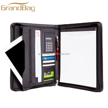 genuine leather A4 document holder professional business portfolio padfolio organizer leather zipper bag for ipad case