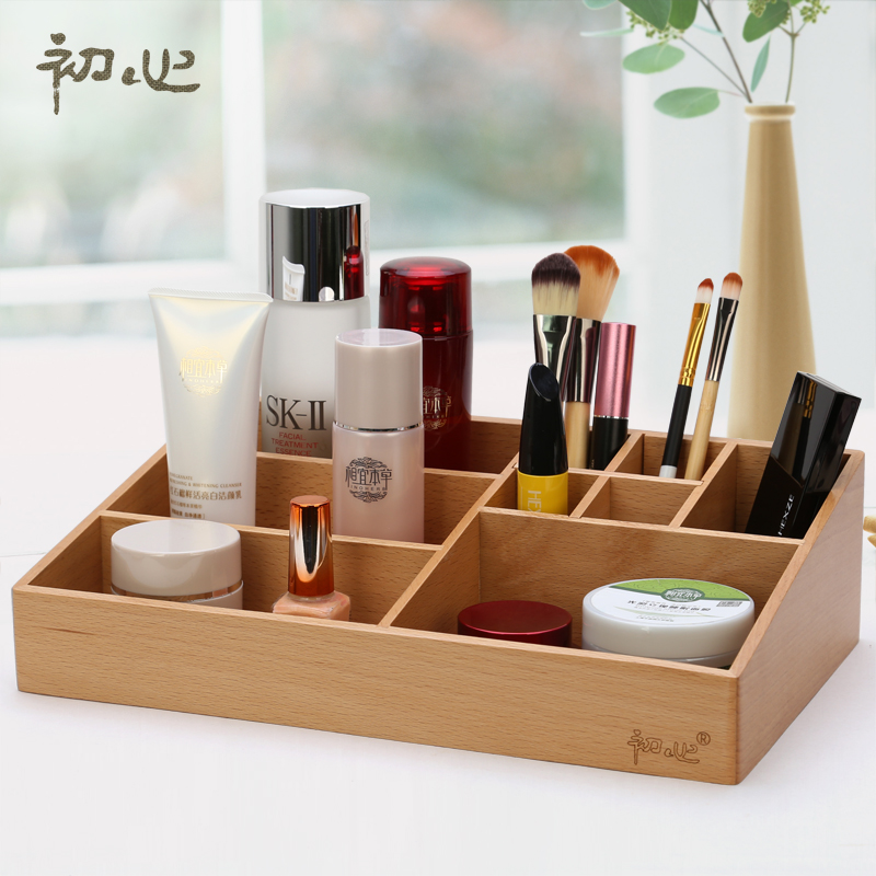 Black painted antique wooden holder for cosmetics/Lipstick Perfume Nai