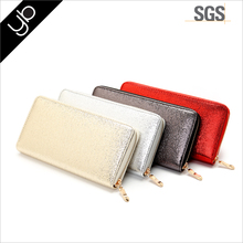 Hot selling custom glitter fabric lady credit card leather wallet with metal zipper