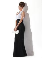 Empire Halter Floor-Length Chiffon Ruffle Long Evening Dress