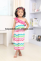 Baby colthing mixed colors one shoulder green hot pink light pink chevron dress