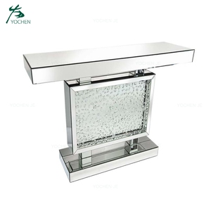 Floating Crystal Luxury Hallway Mirrored Console Table