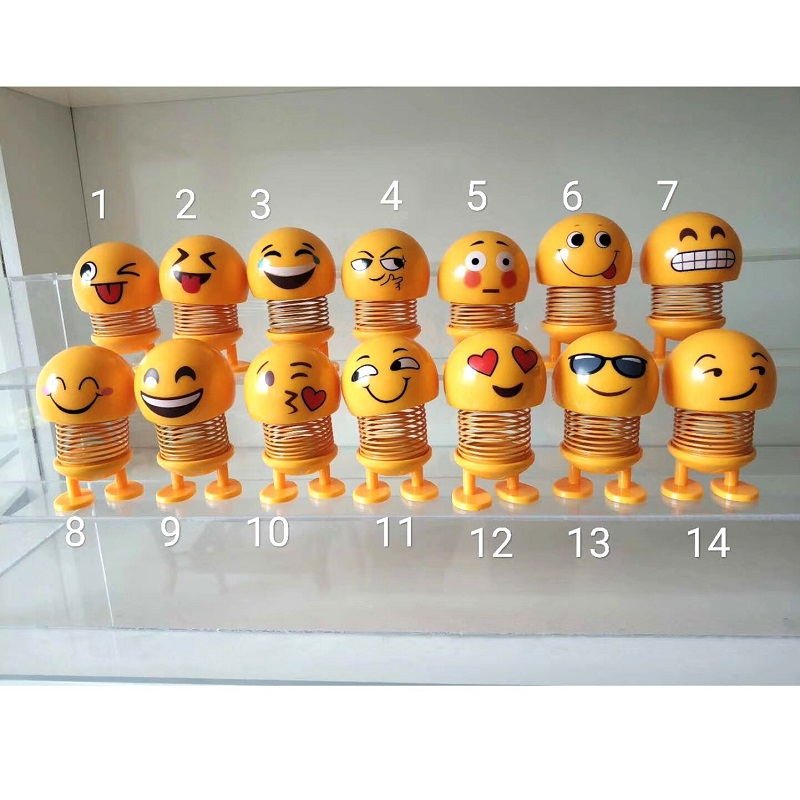 Head Shaking Bouncing Car Smiley Shake Bobble Spring Cute Face Smiling Emoji Toy <strong>Doll</strong>