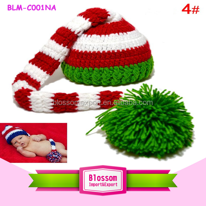 Long tail elf in stock funny kids minion baby knitted hats patterns beanies striped red white and dark green baby winter hat