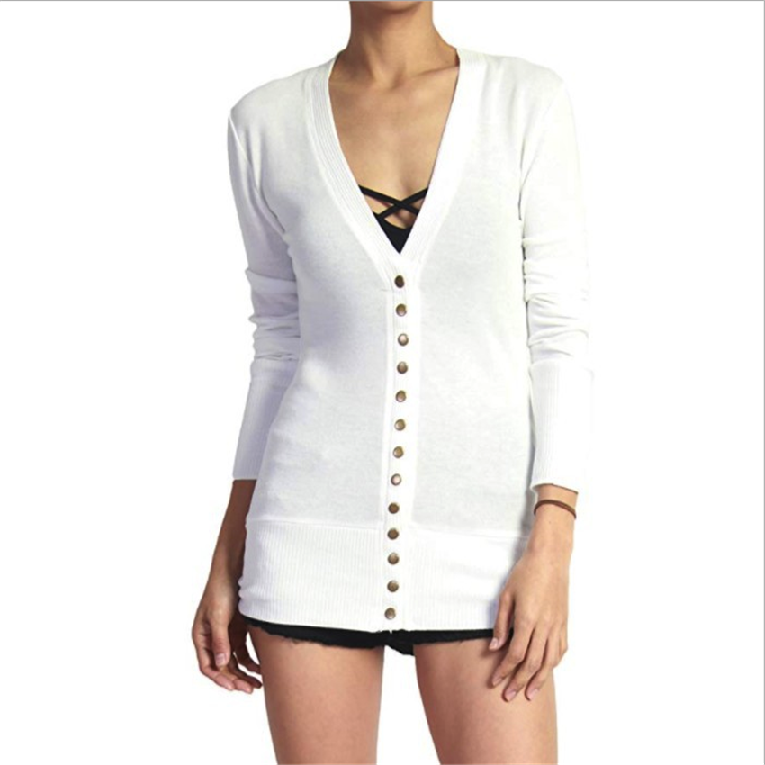 Wholesale Short Solid Color V Neck Long Sleeve Button Cardigan Top