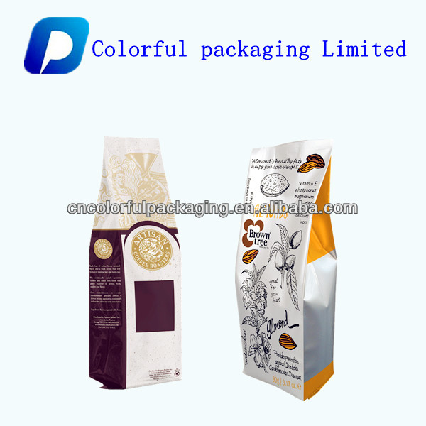 Customozied side gusset aluminum coffee package bags with valve
