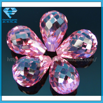 Hot Sale Briolette Pendant Pink Cubic Zirconia(CZ) Gems for Jewelry Making