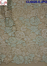 """Rose"" mint green/peach embroidered net lace/french lace with gold thread , for making wedding dress,cloth CL6428-5"