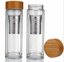 500ml Bamboo Lid Double Wall Glass Tea Infuser Water Bottle