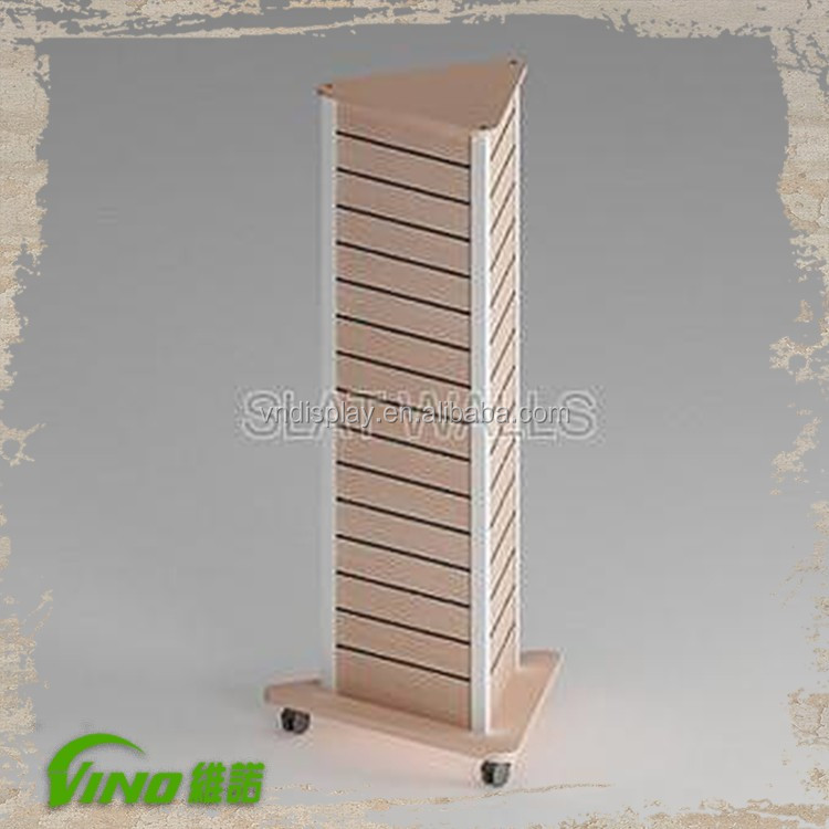 Decorative retail slatwall wood display stand holder, MDF triangle slat wall flooring garment shop display rack with wheels
