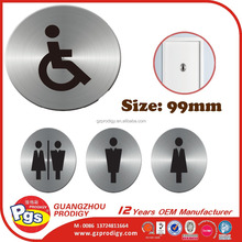 Adhesive stainless steel self adhesive toilet door signs
