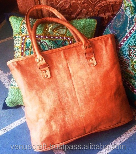 Hand made goat leather vintage style shopping bag