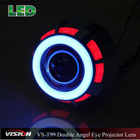 Hotest Double Angel Eyes Projector Lens , Car Led Light Angel Eyes Hid Bixenon Projector Lens
