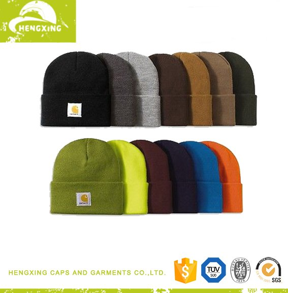 Carhartt beanie various neon colors custom woven label knitted beanie