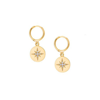 dangle north star earring for women 2018 Christmas gift factory customize wholesale brass 925 sterling silver jewelry