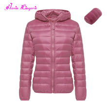 High quality pink ultra light winter coat feather bondage womens duck down jacket