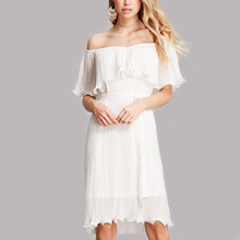 Ladies pleated off shoulder short white chiffon dress in guangdong oem clothing manufacturer
