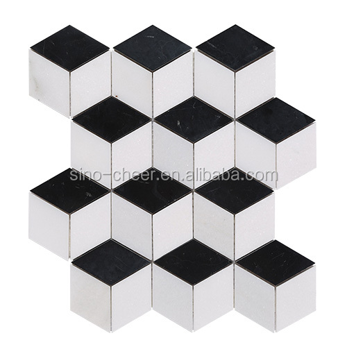 High quality natural stone cube 3D mosaic tiles