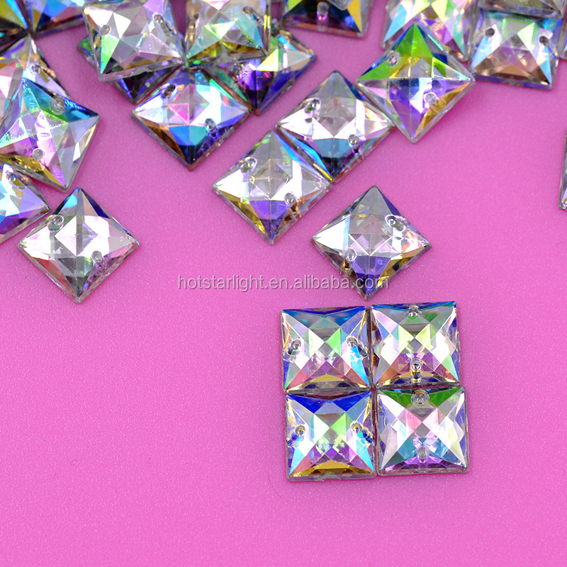 10mm Crystal AB Color Acrylic Flatback Rhinestones Square Shape Sew On Crystal Applique Strass Stones For Clothes Dress