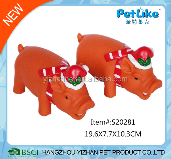 Xmas pig shaped vinyl pet toy pvc dog toy vinyl surprise for puppy dog