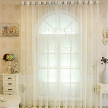 Elegant high quality white sheer sun shading voile curtains