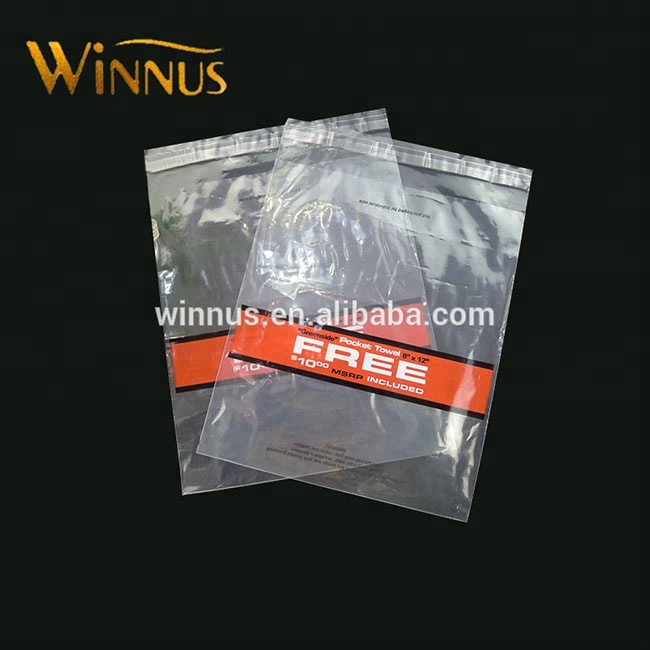 customised logo print garment clothes packaging clear transparent self adhesive opp plastic bags with adhesive tape
