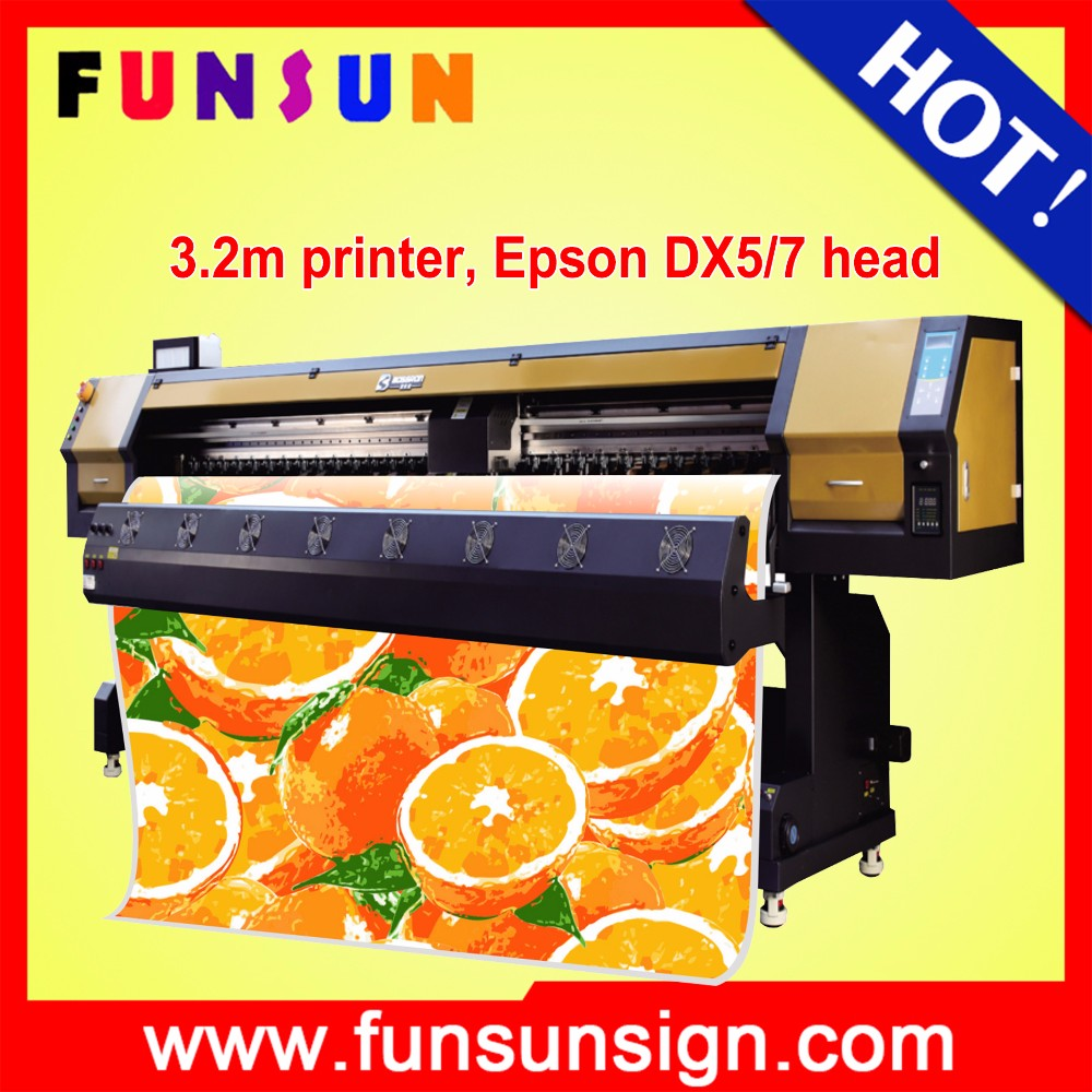 New arrival heavy duty Funsunjet FS3202G 3.2m / 10ft photo canvas print machines with fast printing speed 1440dpi