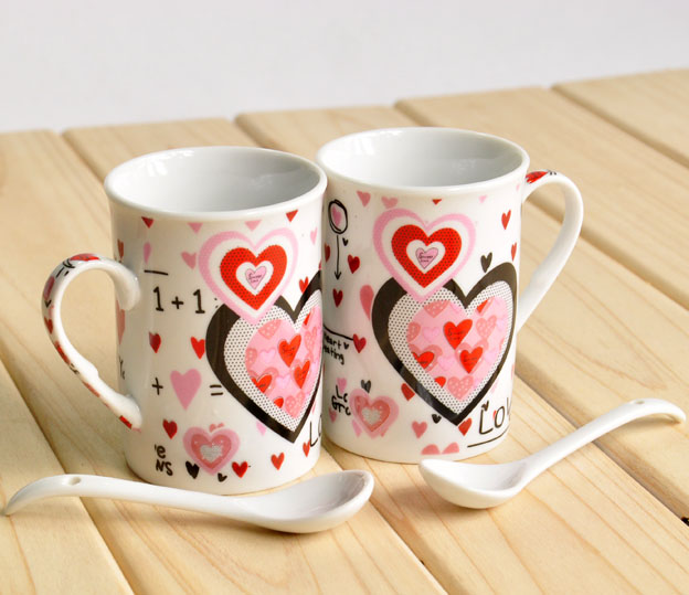 Decal stoneware mug gifts for newly married couple for drinking